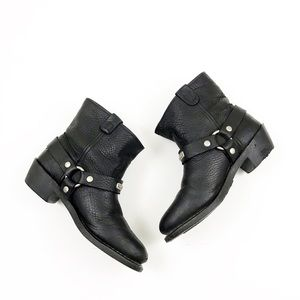 Shoes - WOMEN'S Black Leather Motorcycle Boots. SIZE 7